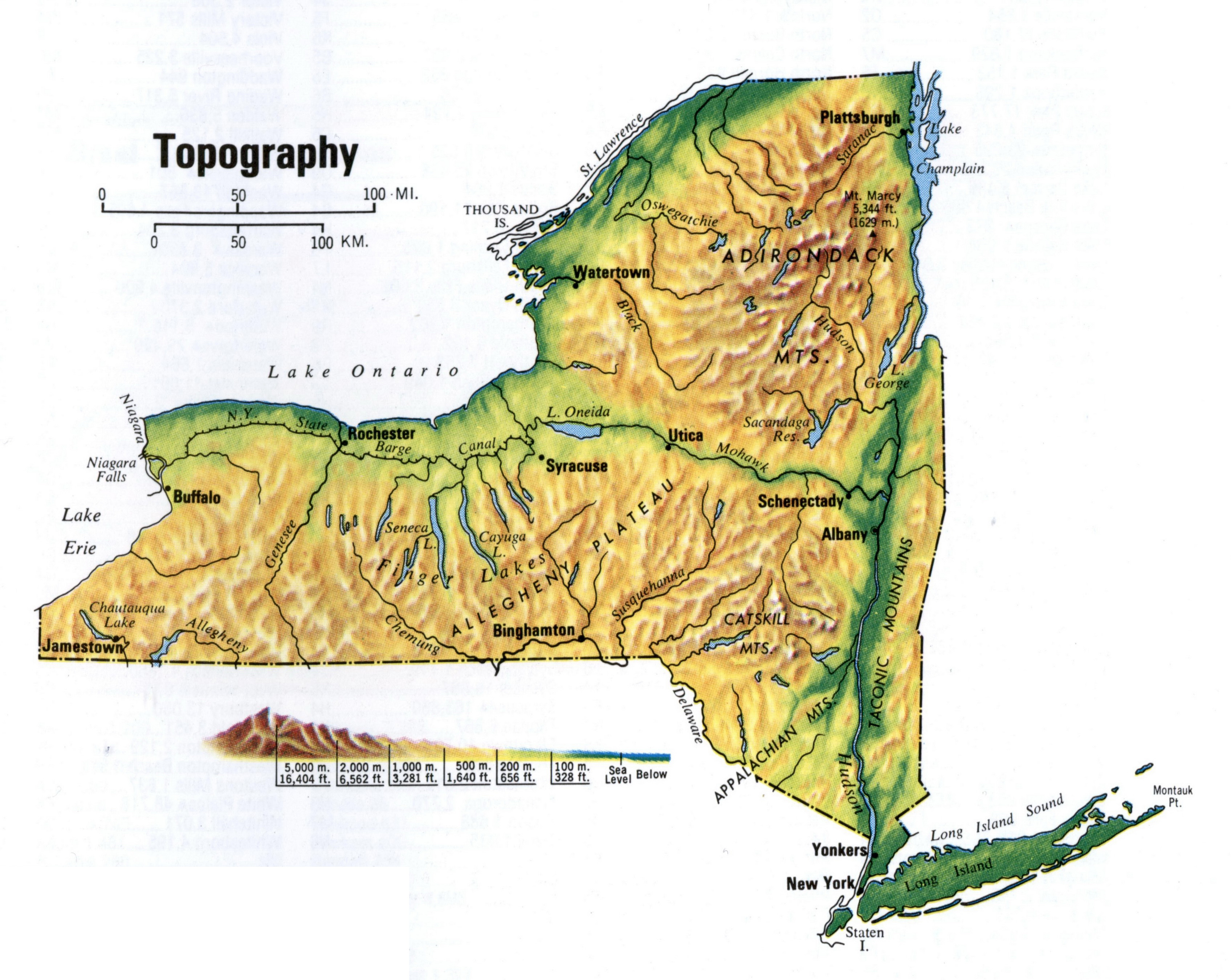 Detailed Topographical Map Of New York State New York State - Mapof ny