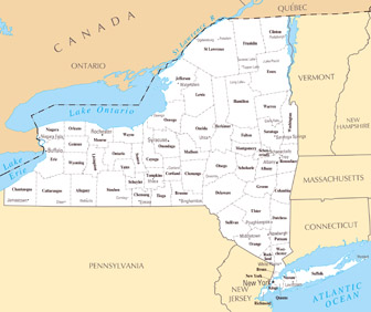 Large administrative map of New York state. New York state large administrative map.