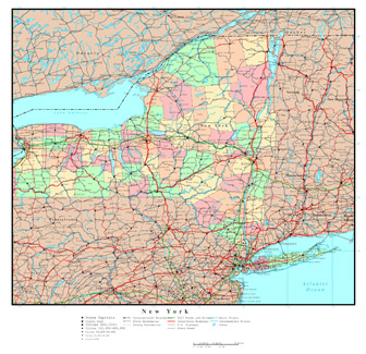 Large detailed administrative map of New York state with highways, roads and major cities.