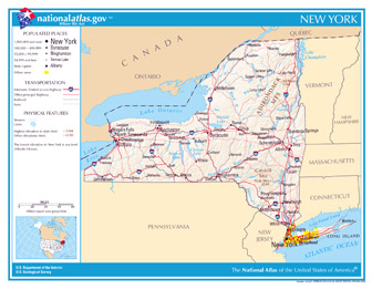 Large detailed map of New York state. New York state large detailed map.