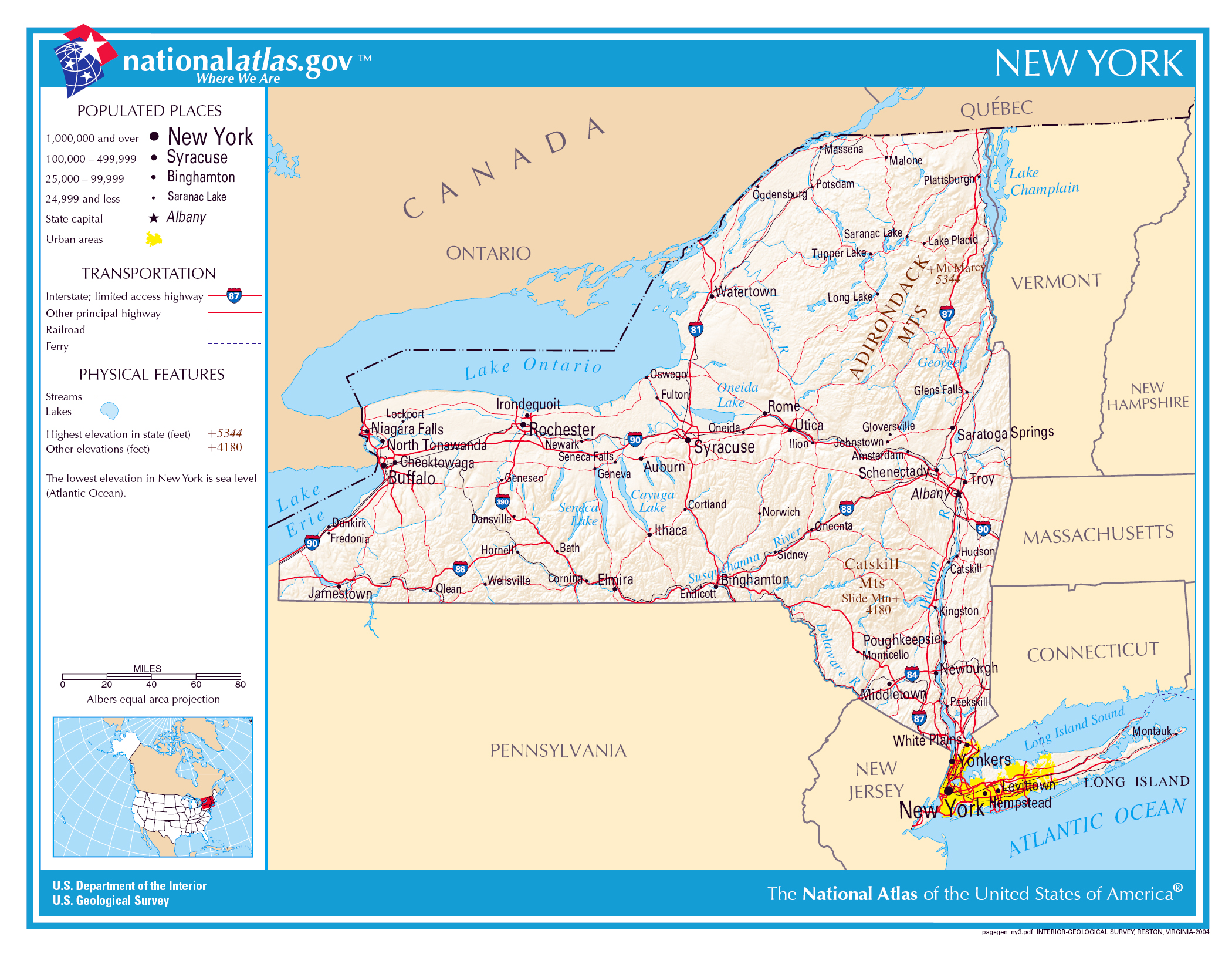 Large detailed map of New York state New York state large detailed