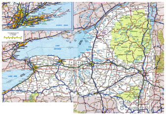 Large detailed roads and highways map of New York state with all cities.