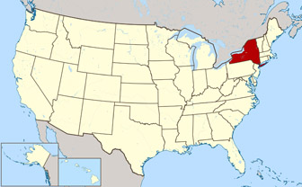 Large location map of New York state. New York state large location map.